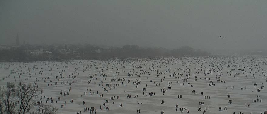 The Alster lake frozen after 13 years, 100.000 thousand people walking on it at Le Méridien Hotel Hamburg.