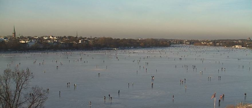 Frozen Alster lake in Hamburg.