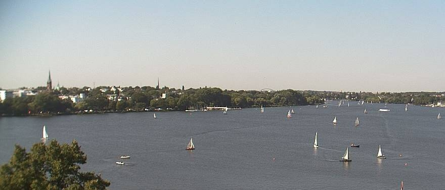 View of sailing boats on the Alster at Le Méridien Hotel Hamburg.